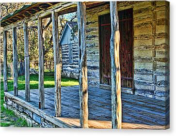 1860 Log Cabin Porch Canvas Print by Linda Phelps