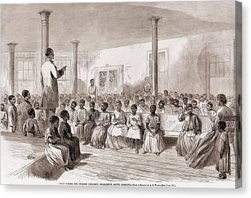 1866 Classroom Of Zion School Canvas Print by Everett