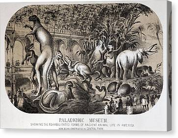 1869 Central Park Dinosaurs Hawkins Full Canvas Print by Paul D Stewart