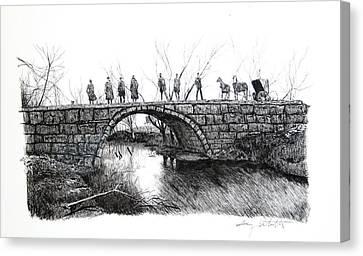 1902 Bridge Postcard Canvas Print by Gary Gackstatter