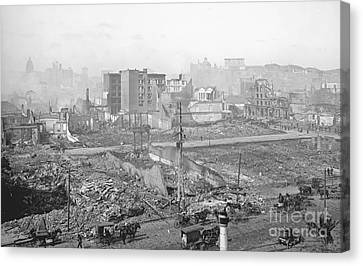 1906 Earthquake Damage To Nob Hill In San Francisco Canvas Print by Padre Art
