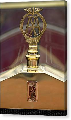 1910 Rolls-royce Silver Ghost Balloon Hood Ornament Canvas Print by Jill Reger