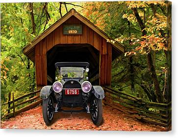 Canvas Print featuring the photograph 1914 Reo Emerges by Bill Dutting