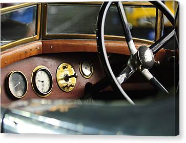 1921 Bentley  Instruments And Steering Wheel Canvas Print by Jill Reger