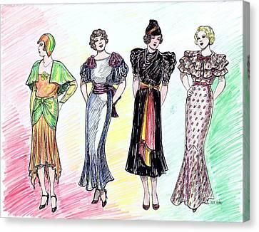 1930s Dresses Canvas Print