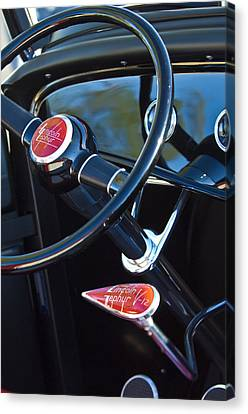 1932 Hot Rod Lincoln V12 Steering Wheel Emblem Canvas Print by Jill Reger