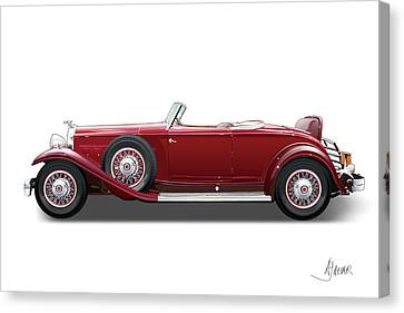 Automotive Illustration Canvas Print - 1932 Packard On White by Alain Jamar