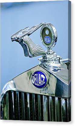 Motometer Canvas Print - 1933 Delage D8s Coupe Hood Ornament by Jill Reger