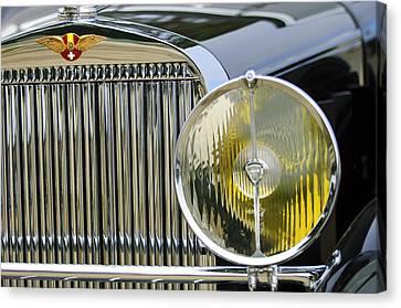 Hispano Suiza Canvas Print - 1936 Hispano-suiza J12 Saoutchik Cabriolet Grille Emblem by Jill Reger
