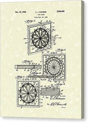 Sports Bar Canvas Print - 1936 Patent Art Dart Board by Prior Art Design