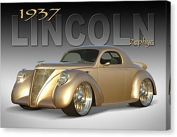Lowrider Canvas Print - 1937 Lincoln Zephyr by Mike McGlothlen