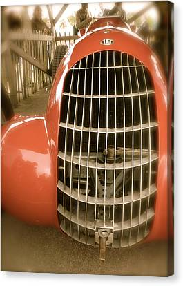 Canvas Print featuring the photograph 1938 Alfa Romeo 308c Front Grill by John Colley