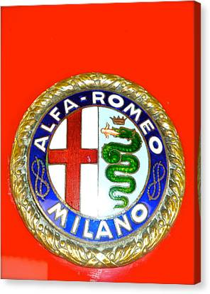 Canvas Print featuring the photograph 1938 Alfa Romeo 308c Hood Badge by John Colley