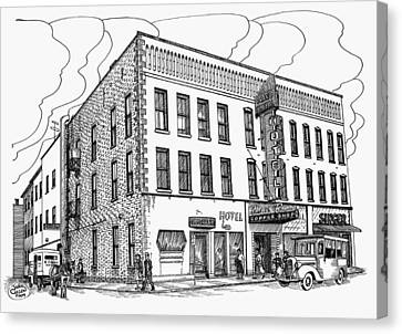1950 Grand Central Hotel Brockville Canvas Print by John Cullen