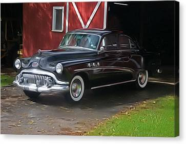 Canvas Print featuring the photograph 1952 Buick And Old Barn by Elizabeth Coats