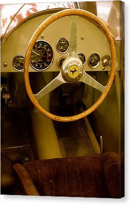 Canvas Print featuring the photograph 1952 Ferrari 500 625 Cockpit by John Colley