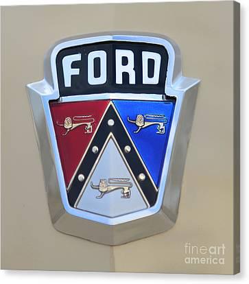 1954 Ford Customline Emblem Close Up Canvas Print by Paul Ward