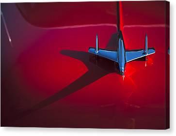 1955 Chevrolet Bel Air Hood Ornament Canvas Print by Carol Leigh