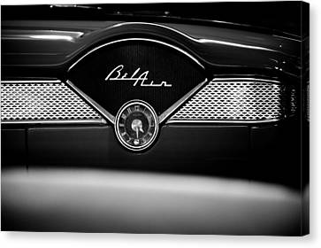 1955 Chevy Bel Air Glow Compartment In Black And White Canvas Print