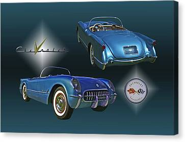 1955 Corvette - 68 Of 700 Built Canvas Print by Mike  Capone
