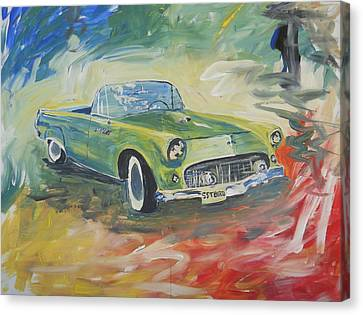 1955 Green Tbird Canvas Print by Candace Nalepa