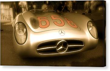 Canvas Print featuring the photograph 1955 Mercedes Benz 300slr Fangio by John Colley