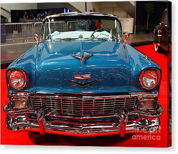 1956 Chevrolet Bel-air Convertible . Blue . 7d9246 Canvas Print by Wingsdomain Art and Photography
