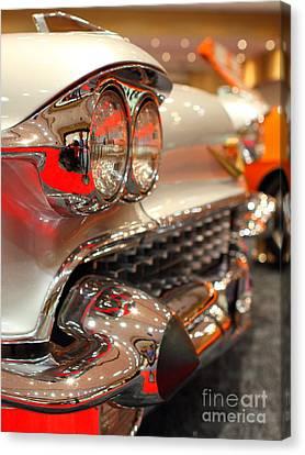 1958 Cadillac Eldorado Biarritz Convertible . Silver . 7d9427 Canvas Print by Wingsdomain Art and Photography