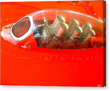 Canvas Print featuring the photograph 1960 Ferrari 246s Dino Hood Detail by John Colley