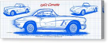 1962 Corvette Blueprint Canvas Print by K Scott Teeters