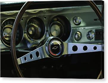 1965 Chevrolet Chevelle Malibu Ss Steering Wheel Canvas Print by Jill Reger