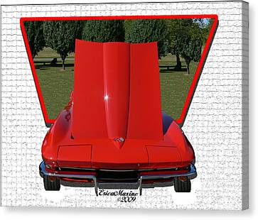 Canvas Print featuring the photograph 1965 Corvette by EricaMaxine  Price