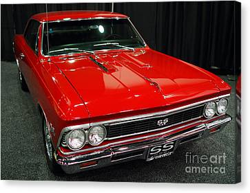 1966 Chevy Chevelle Ss 396 . Red . 7d9280 Canvas Print by Wingsdomain Art and Photography