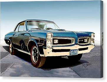 Canvas Print featuring the painting 1966 Pontiac Gto by Rod Seel