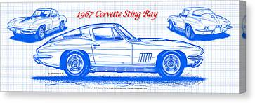 1967 Corvette Sting Ray Coupe Blueprint Canvas Print by K Scott Teeters