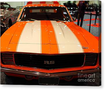 1969 Chevrolet Camaro 350 Rs . Orange With Racing Stripes . 7d9428 Canvas Print by Wingsdomain Art and Photography