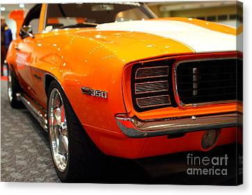 1969 Chevrolet Camaro 350 Rs . Orange With Racing Stripes . 7d9432 Canvas Print by Wingsdomain Art and Photography