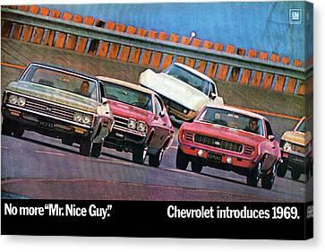 1969 Chevrolet Impala Chevelle Camaro Corvette And Nova Canvas Print by Digital Repro Depot