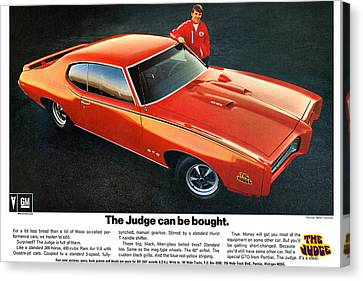 1969 Pontiac Gto The Judge Can Be Bought Canvas Print
