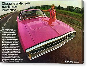 1970 Dodge Charger Tickled Pink Canvas Print