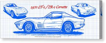 1970 Lt-1 And Zr-1 Corvette Blueprint Canvas Print by K Scott Teeters