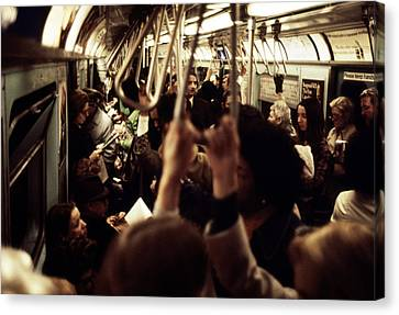 1970s America. Passengers On A Subway Canvas Print