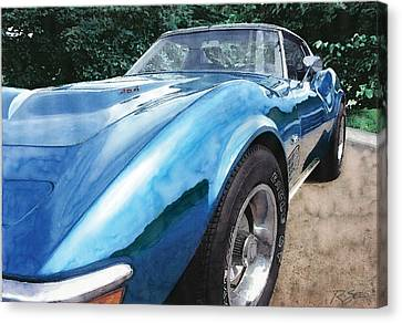 Canvas Print featuring the painting 1972 Blue Corvette Stingray by Rod Seel