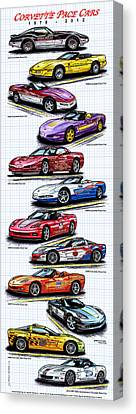 Canvas Print featuring the drawing 1978 - 2008 Indy 500 Corvette Pace Cars by K Scott Teeters