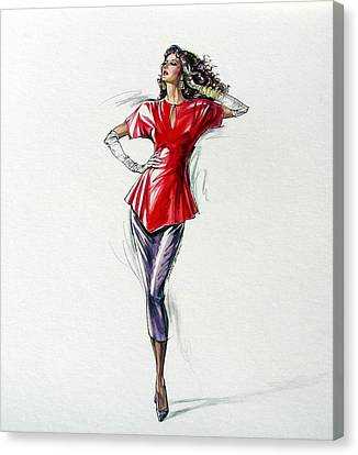 1980's Female Fashion Model In Red Canvas Print by Sharon Barner