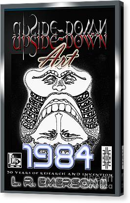 Lourve Canvas Print - 1984 Commemorative Poster From L R Emerson II Lead Upside Down Artist by L R Emerson II