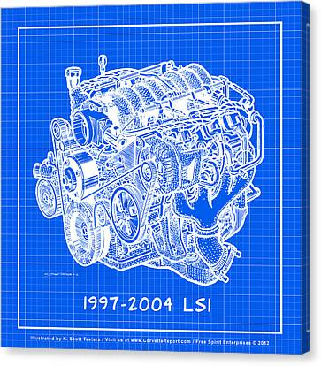 1997 - 2004 Ls1 Corvette Engine Reverse Blueprint Canvas Print by K Scott Teeters