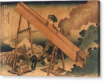 19th Century Japanese Print Shows Two Canvas Print by Everett
