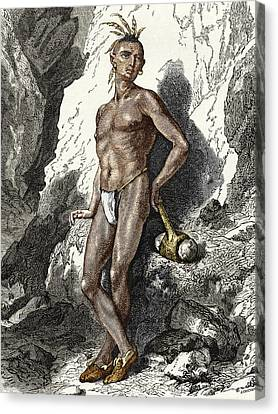 Simonin Canvas Print - 19th-century Native American Mine Worker by Sheila Terry