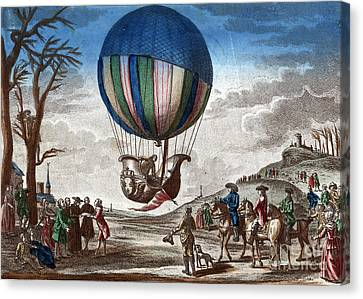 1st Manned Hydrogen Balloon Flight, 1783 Canvas Print by Photo Researchers